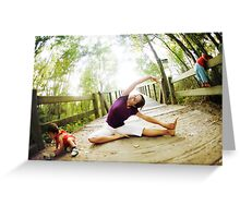 Yoga in the nature with kids Greeting Card
