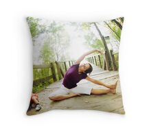 Yoga in the nature with kids Throw Pillow