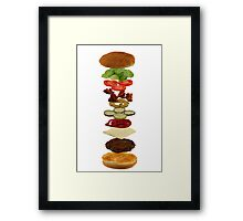 Isometric exploded view of hamburger ingredients Framed Print