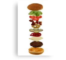 Isometric exploded view of hamburger ingredients Canvas Print