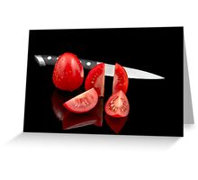 Fresh tomatoes and knife Greeting Card