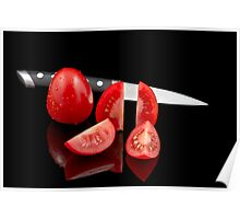 Fresh tomatoes and knife Poster