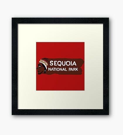 Sequoia National Park Entrance Sign, California, USA Framed Print