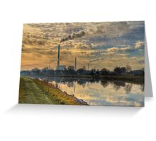 View to power plant across a channel Greeting Card