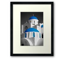 'Blue Domes' - Greek Orthodox Churches of the Greek Cyclades Islands Framed Print