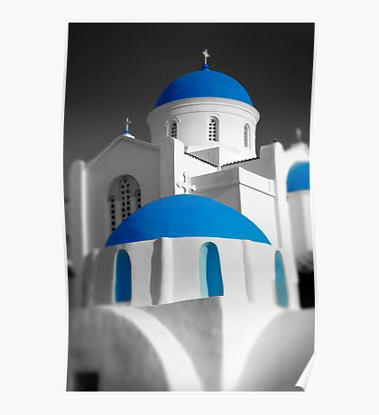 'Blue Domes' - Greek Orthodox Churches of the Greek Cyclades Islands Poster