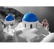 'Blue Domes' - Greek Orthodox Churches of the Greek Cyclades Islands - 3 Photographic Print