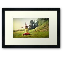 Yoga with kids in the park Framed Print