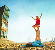 Ustrasana, Girl practicing Yoga poses in a blue sky   by Wari Om  Yoga Photography