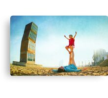Ustrasana, Girl practicing Yoga poses in a blue sky   Canvas Print