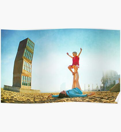 Ustrasana, Girl practicing Yoga poses in a blue sky   Poster