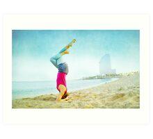 Yoga in the beach, Barcelona Art Print