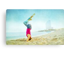 Yoga in the beach, Barcelona Metal Print
