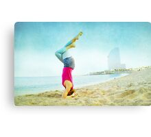 Yoga in the beach, Barcelona Canvas Print