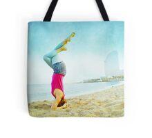 Yoga in the beach, Barcelona Tote Bag