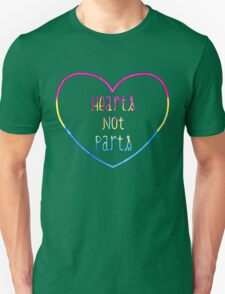 Hearts not Parts Pansexual pride Unisex T-Shirt
