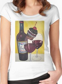 Cupcake wine and Cupcake 2 Women's Fitted Scoop T-Shirt