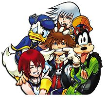 Kingdom Hearts - Sora, Riku, Kairi, Goofy & Donald by realzanime