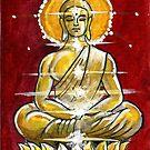 Golden Buddha on Red by dvampyrelestat