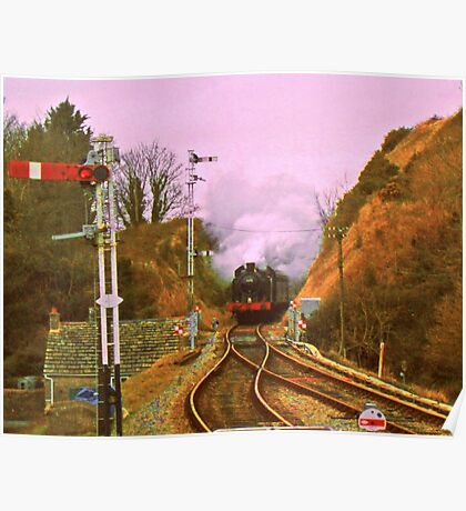 Steam at Corfe Castle Poster