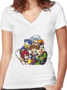Kingdom Hearts - Sora, Riku, Kairi, Goofy & Donald Women's Fitted V-Neck T-Shirt