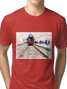 Steam locomotive in station Tri-blend T-Shirt