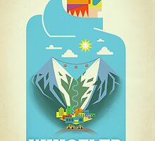 """Blue Bird"" Whistler, BC Travel Poster by James Tuer"