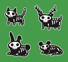Cute Cartoon Halloween Animals Skeletons One Piece - Short Sleeve