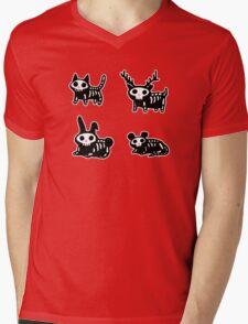 Cute Cartoon Halloween Animals Skeletons Mens V-Neck T-Shirt