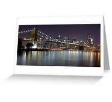 Brooklyn Bridge at Night Panorama 2 Greeting Card