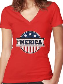 'MERICA T-Shirt. America. Jesus. Freedom. - The Campaign Women's Fitted V-Neck T-Shirt
