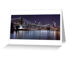 Brooklyn Bridge at Night Panorama 3 Greeting Card