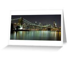 Brooklyn Bridge at Night Panorama 4 Greeting Card