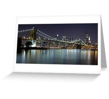 Brooklyn Bridge at Night Panorama 5 Greeting Card