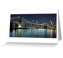 Brooklyn Bridge at Night Panorama 8 Greeting Card