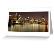 Brooklyn Bridge at Night Panorama 9 Greeting Card