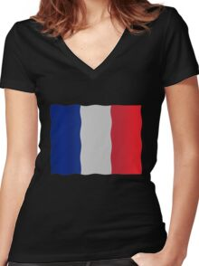 French flag Women's Fitted V-Neck T-Shirt