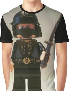 Black Japanese Samurai Warrior Minifigure / TMNT Shredder Custom Minifig Graphic T-Shirt