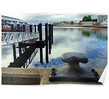 Hobart Waterfront Reflections and Bollard Poster