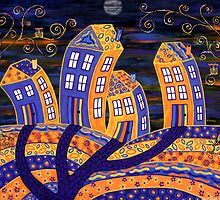 Midnight In Town - only the owls are watching! by Lisa Frances Judd ~ QuirkyHappyArt
