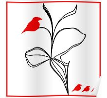 RED birds on abstraction black flower magic  Poster