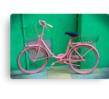 Pink Bike - Burano, Venice Italy  Canvas Print