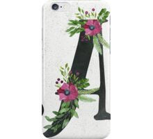 Letter A with Floral Wreaths iPhone Case/Skin