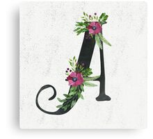 Letter A with Floral Wreaths Canvas Print