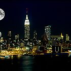 Full Moon Rising  New York City Skyline by Anthony L Sacco