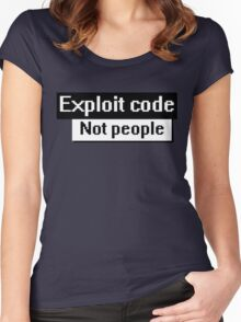 exploit code, not people Women's Fitted Scoop T-Shirt