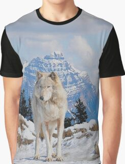 White Grey Wolf & Rocky Mountains Art  Graphic T-Shirt