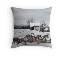 Idle Work Horses Throw Pillow