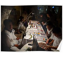 Huichol selling artcraft at night - Huichol venden artesania en la noche Poster