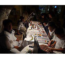 Huichol selling artcraft at night - Huichol venden artesania en la noche Photographic Print